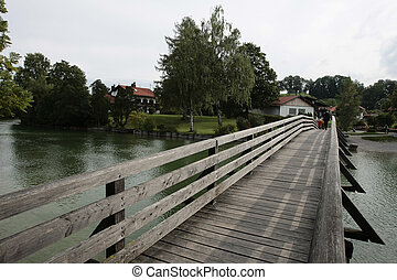tegernsee bridge - wooden bridge at the tegernsee
