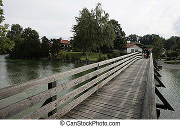 tegernsee bridge - wooden bridge at the tegernsee