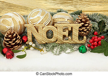 Noel - Christmas noel sign with gold bauble decorations,...
