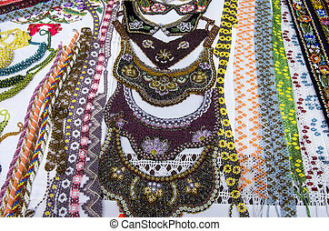 Souvenir shop: neck accesories - Traditional souvenir shop:...