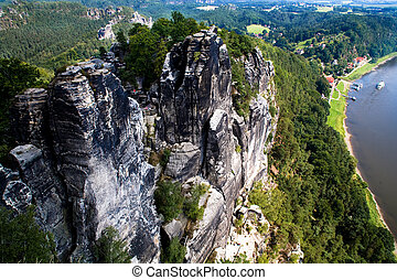 Bastei in Saxon Switzerland - Saxon Switzerland Elbe river...