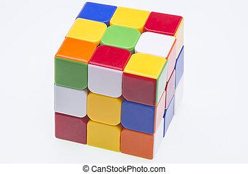 Scrambled Rubiks cube - Close image of a scrambled Rubiks...