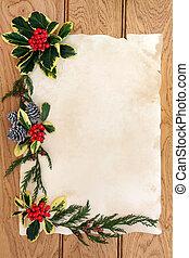 floral, frontera, navidad