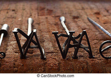 Branding irons - Several branding irons for cattle, Badajoz,...
