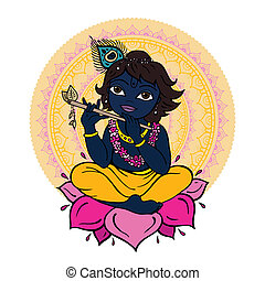 Hindu God Krishna Vector hand drawn illustration