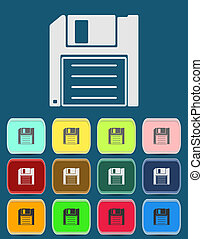 Magnetic floppy disc icon for computer data storage