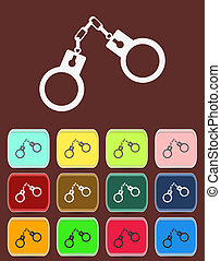 Handcuffs - Vector icon with color variations - flat