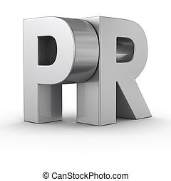 PR - Big metal letters PR on white background