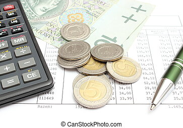 Heap of coins, paper money, calculator and pen on spreadsheet