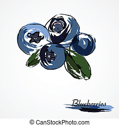 Blueberries, huckleberries - Hand drawn vector of ripe...