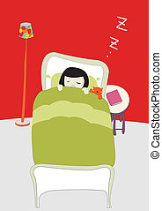 girl sleeping - It is an illustration of a girl sleeping
