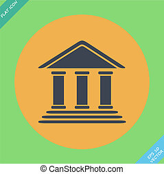 Bank building - vector illustration. Flat design element