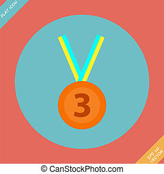 3rd Position Bronze Medal Icon - vector illustration Flat...