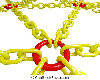 secure connection - 3d illustration of red and yellow chain...
