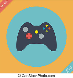 Computer Video Game Controller Joystick - vector...