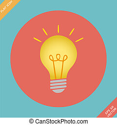 Lightbulb icon - vector illustration Flat design element