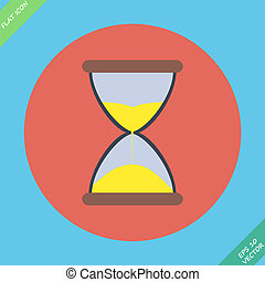 Sand flowing inside hour glass - vector illustration Flat...