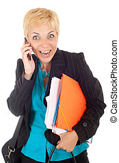 surprised business woman phoning