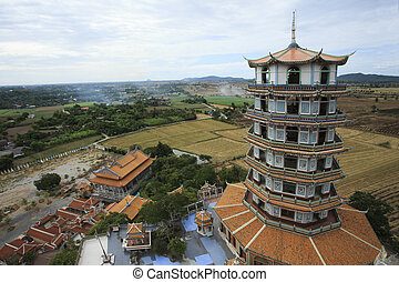 top view of chinese pagoda wat tum khao noi temple in...