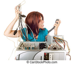 woman technology panic - angry red hair woman phoning...