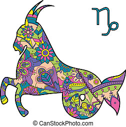 Capricorn zodiac sign - vector illustration of Capricorn...