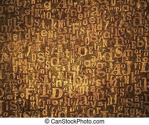 Alphabet background - Grunge and grainy brown alphabet...