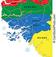 Guinea-Bissau map - Highly detailed vector map of...