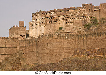 Indian Fort at Jodhpur - Meherangarh Fort . Former home of...