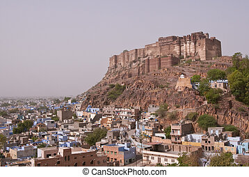 Imposing Jodhpur Fort - Historic Meherangarh Fort towering...