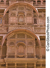 Indian Window - Ornate window of a traditional rajput palace...