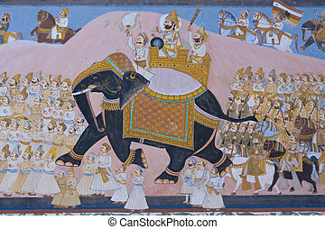 Rajput Mural - Colorful indian mural in the fort at Jodhpur...
