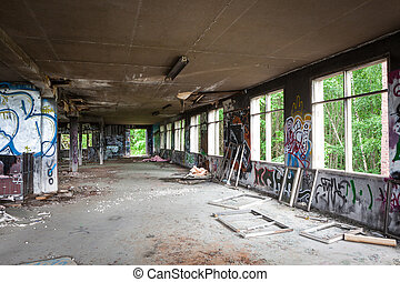 Messy abandoned factory room - Messy abandoned factory hall...