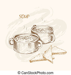 Soup and bread. Hand drawn graphic illustration