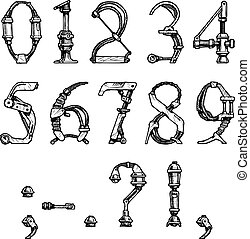 steampunk font - steampunk letter made of different...