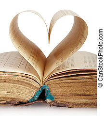 book heart - Book with opened pages of shape of heart...