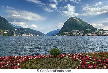 Lake Lugano, Switzerland - View of Monte San Salvatore and...