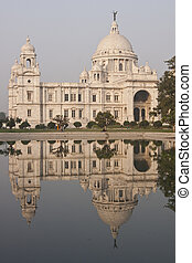 Victoria Memorial in Kolkata, India. Ornate white marble...