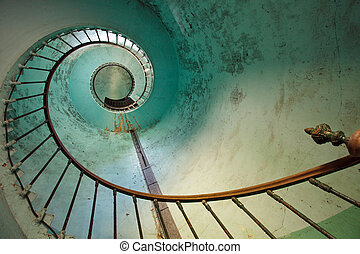 lighthouse staircase - blue staircase of old Hourtin...