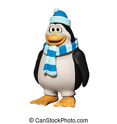 3d cartoon penguins - isolated on the white background
