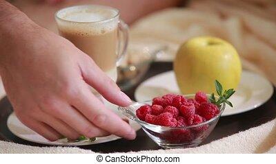 Layered rhubarb and quark dessert - beautiful berries lat...