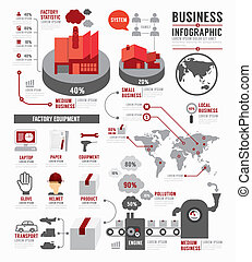 Infographic Business world industry factory template design...