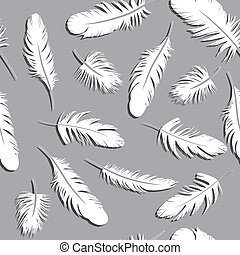 Seamless Feather Pattern vector illustration background...