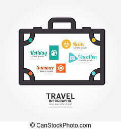 infographics vector travel luggage design diagram line style...
