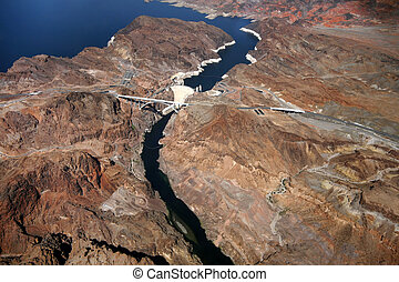 Aerial view of Hoover Dam - CLARK COUNTY, NV - 21 SEPTEMBER...