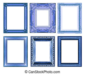 set of vintage blue frame with blank space - set of Vintage...