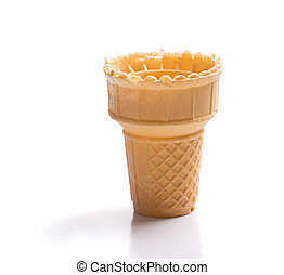Empty Ice Cream Cone - An empty ice cream cone shot on a...
