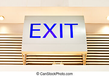 exit sign inside of  modern hall , security details