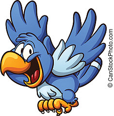 Blue bird - Happy blue bird. Vector clip art illustration...