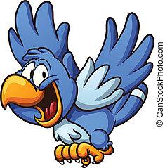 Blue bird - Happy blue bird. Vector clip art illustration...