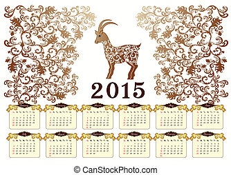 calendar for 2015 with a goat in vintage style - calendar in...